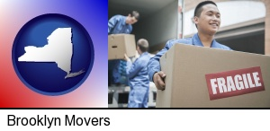 Brooklyn, New York - movers unloading a moving van and carrying a fragile box