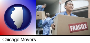 Chicago, Illinois - movers unloading a moving van and carrying a fragile box