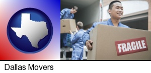 Dallas, Texas - movers unloading a moving van and carrying a fragile box