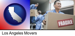 Los Angeles, California - movers unloading a moving van and carrying a fragile box