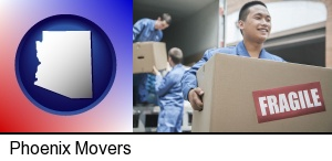 movers unloading a moving van and carrying a fragile box in Phoenix, AZ