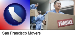 San Francisco, California - movers unloading a moving van and carrying a fragile box