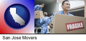 San Jose, California - movers unloading a moving van and carrying a fragile box