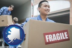 ak movers unloading a moving van and carrying a fragile box