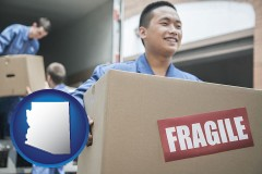 arizona map icon and movers unloading a moving van and carrying a fragile box