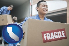 california map icon and movers unloading a moving van and carrying a fragile box