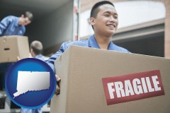 connecticut map icon and movers unloading a moving van and carrying a fragile box