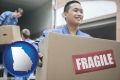 georgia map icon and movers unloading a moving van and carrying a fragile box