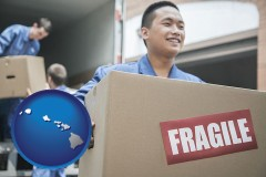 hawaii map icon and movers unloading a moving van and carrying a fragile box