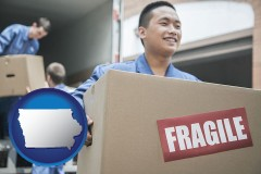iowa map icon and movers unloading a moving van and carrying a fragile box