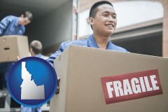 id movers unloading a moving van and carrying a fragile box