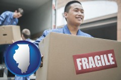 il movers unloading a moving van and carrying a fragile box