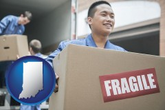indiana map icon and movers unloading a moving van and carrying a fragile box