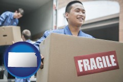 kansas movers unloading a moving van and carrying a fragile box