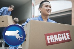 massachusetts map icon and movers unloading a moving van and carrying a fragile box