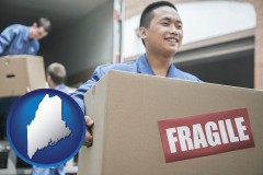 maine map icon and movers unloading a moving van and carrying a fragile box