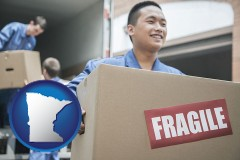 minnesota map icon and movers unloading a moving van and carrying a fragile box