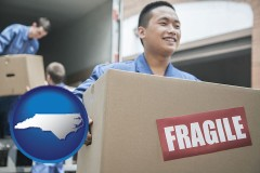 north-carolina map icon and movers unloading a moving van and carrying a fragile box