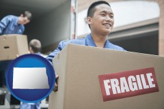 north-dakota map icon and movers unloading a moving van and carrying a fragile box