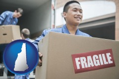 nh movers unloading a moving van and carrying a fragile box