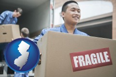 new-jersey map icon and movers unloading a moving van and carrying a fragile box