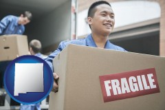 new-mexico map icon and movers unloading a moving van and carrying a fragile box