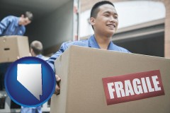nevada map icon and movers unloading a moving van and carrying a fragile box