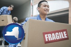 new-york map icon and movers unloading a moving van and carrying a fragile box