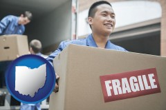 ohio map icon and movers unloading a moving van and carrying a fragile box