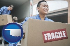 ok movers unloading a moving van and carrying a fragile box