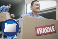 or movers unloading a moving van and carrying a fragile box