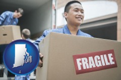 rhode-island map icon and movers unloading a moving van and carrying a fragile box