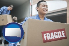 south-dakota map icon and movers unloading a moving van and carrying a fragile box