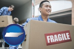 tn movers unloading a moving van and carrying a fragile box