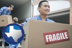 texas map icon and movers unloading a moving van and carrying a fragile box