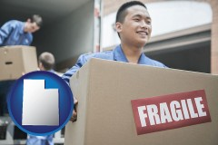 utah map icon and movers unloading a moving van and carrying a fragile box