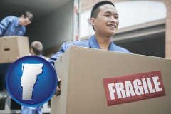 vermont map icon and movers unloading a moving van and carrying a fragile box