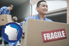 wisconsin map icon and movers unloading a moving van and carrying a fragile box