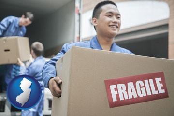 movers unloading a moving van and carrying a fragile box - with New Jersey icon